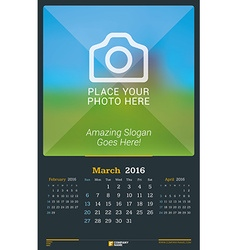 March 2016 wall monthly calendar for 2016 year vector