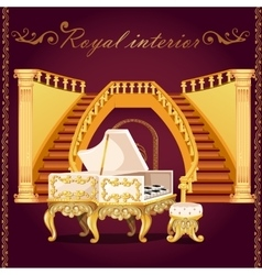 Gold piano and grand staircase with columns vector