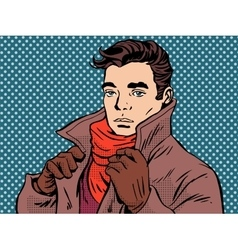 Romantic young man cold weather vector