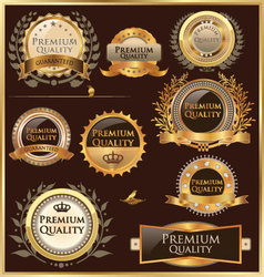 Premium quality golden labels and medallions vector