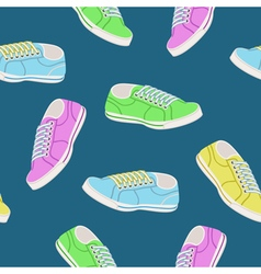 Seamless background with colored trainers vector