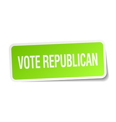 Vote republican green square sticker on white vector