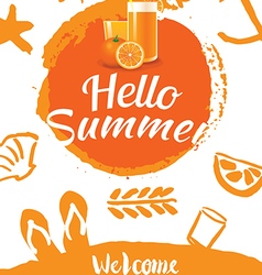 Hello summer beach party poster background vector
