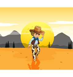 A cowboy at the desert vector image vector image