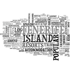 a tourist guide to tenerife text word cloud vector image vector image