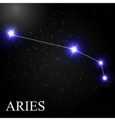 Aries Zodiac Sign with Beautiful Bright Stars on vector image vector image