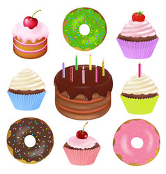 Big set of cakes vector