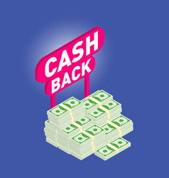 Cash back cash back isometric 3d icon with money vector