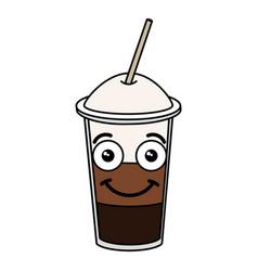 coffee shake with straw kawaii character vector image