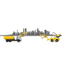 Construction Machinery in the City vector image vector image