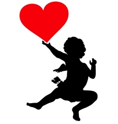 Cupid silhouette vector image