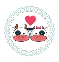 Cute animal with circular frame vector
