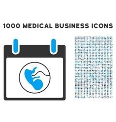 Embryo calendar day icon with 1000 medical vector