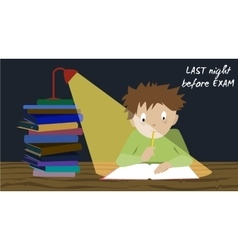 Exam student stress Pre test preparation night vector image vector image