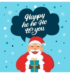 Funny santa claus with gift say happy hoho to you vector