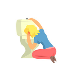 girl vomiting in toilet nauseous adult person vector image vector image