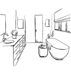 Hand drawn bathroom sketch vector