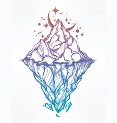 Hand drawn beautiful iceberg and moon vector