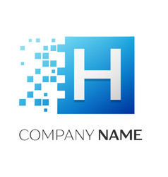 Letter h logo symbol in the colorful square with vector