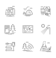 Linear icons set for camping vector