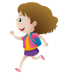 Little girl with blue backpack running vector