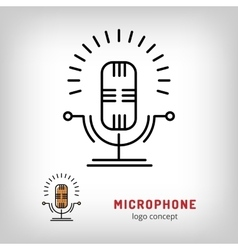 Microphone isolated line art icon modern vector