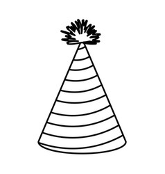 Monochrome silhouette of party hat with radial vector