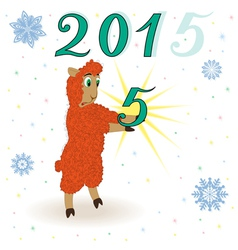 Puzzled orange sheep has caught a figure five vector