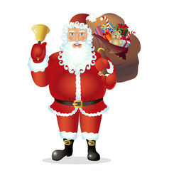 Santa claus with bell isolated on white vector
