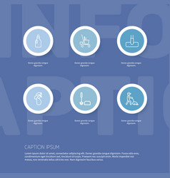 set of 6 editable hygiene outline icons includes vector image vector image