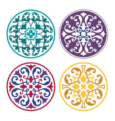 set of round arabic ornaments vector image vector image