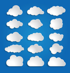 set of white clouds on a blue sky background vector image vector image