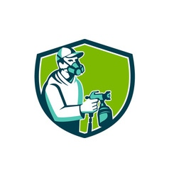 Spray paint gun painter spraying shield retro vector