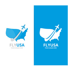 usa and plane logo combination america vector image vector image