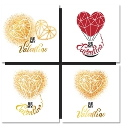 Valentines day gold greeting card vector