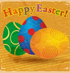 Vintage card with a picture of easter eggs vector