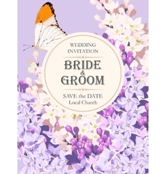 Wedding invitation with lilac vector