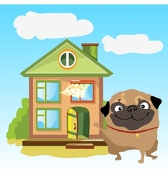 Welcoming home with dog on a landscape vector