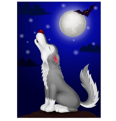 Wolf cartoon howling vector