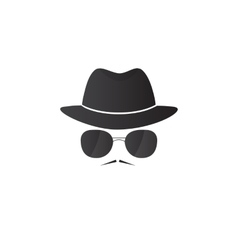 Unknown man in hat and glasses with a mustache vector image