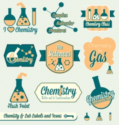 Vintage chemistry class labels and icons vector