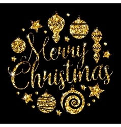 Christmas elements with golden glitter vector