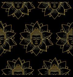 Gold buddha and lotus seamless pattern vector