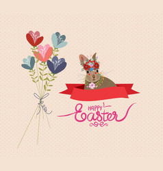 Happy easter rabbit and flower bouquets retro vector