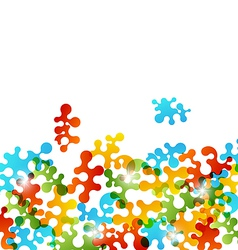 Set colorful figures stylized puzzle vector image