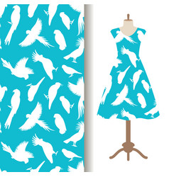 womens dress fabric pattern with birds vector image