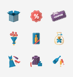 Gift modern colorful shop icons on white vector