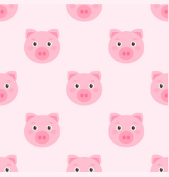 Seamless pattern with cute pink pigs vector