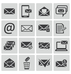 Black email icons set vector