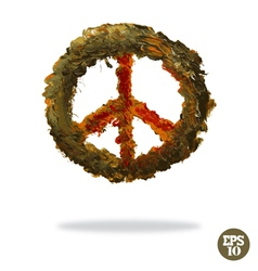 Oil painted peace symbol vector
